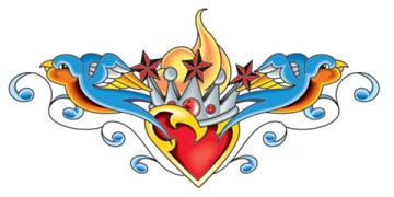 Heart and Birds Temporary Tattoo Back Piece